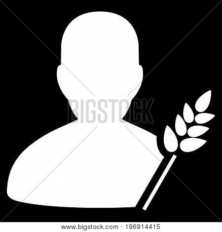 Agriculture Farmer vector pictogram. Style is flat graphic symbol, white color, black background.