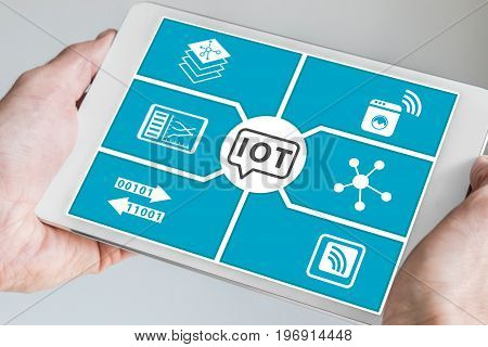 Internet of things (IOT) concept. Hand holding modern smartphone or tablet.