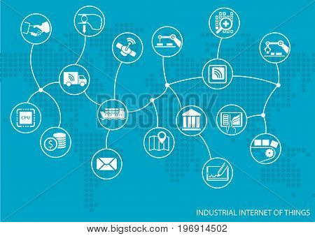 Industrial internet of things (IOT) concept. World map of connected value chain of goods including business process automation