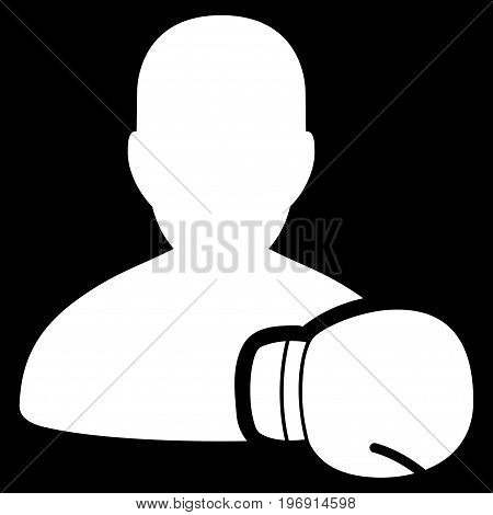 Boxing Sportsman vector pictogram. Style is flat graphic symbol, white color, black background.