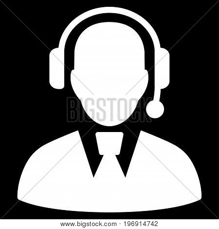 Call Center Manager vector pictogram. Style is flat graphic symbol, white color, black background.