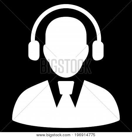 Call Center Operator vector pictograph. Style is flat graphic symbol, white color, black background.