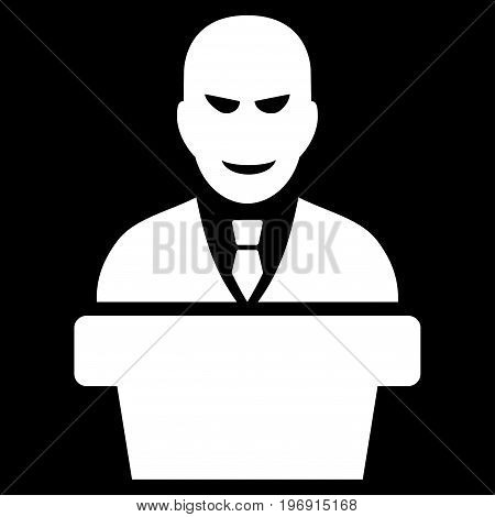 Demagogue vector pictogram. Style is flat graphic symbol, white color, black background.