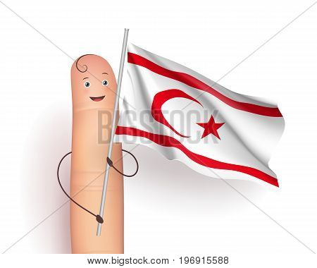 Northern Cyprus flag. Finger cute person holding a symbol. European unrecognized and with unlimited recognition state. Vector realistic illustration on white background