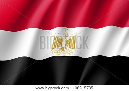 Egypt flag. National patriotic symbol in official country colors. Illustration of Africa state waving flag. Realistic vector icon