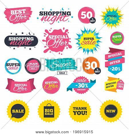 Sale shopping banners. Sale speech bubble icon. Thank you symbol. New star circle sign. Big sale shopping bag. Web badges, splash and stickers. Best offer. Vector