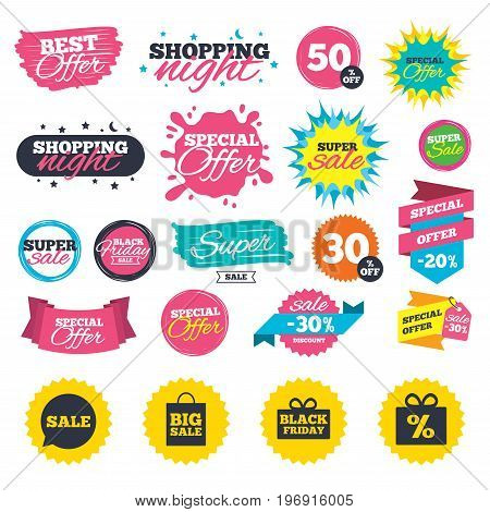 Sale shopping banners. Sale speech bubble icon. Black friday gift box symbol. Big sale shopping bag. Discount percent sign. Web badges, splash and stickers. Best offer. Vector