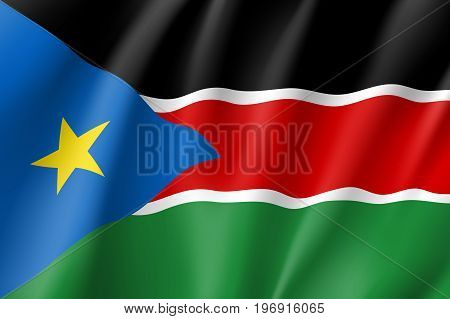 South Sudan flag. National patriotic symbol in official country colors. Illustration of Africa state waving flag. Realistic vector icon