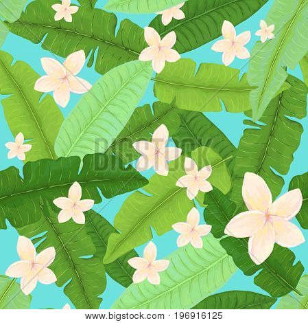 Seamless Pattern of Banana Leaves and White Plumeria on Light Blue Background
