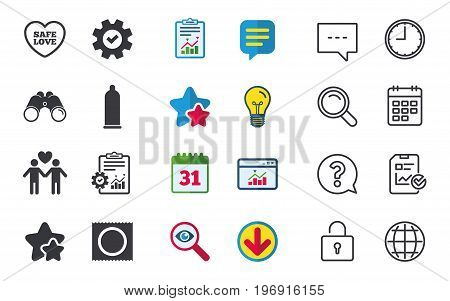 Condom safe sex icons. Lovers Gay couple signs. Male love male. Heart symbol. Chat, Report and Calendar signs. Stars, Statistics and Download icons. Question, Clock and Globe. Vector
