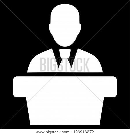 Politician vector pictogram. Style is flat graphic symbol, white color, black background.