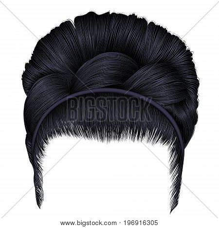 babette of hairs with pigtail brunette black colors . trendy women fashion beauty style . realistic 3D . retro hairstyle .