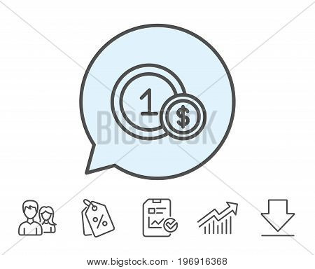 Coins line icon. Money sign. Dollar currency symbol. Cash payment method. Report, Sale Coupons and Chart line signs. Download, Group icons. Editable stroke. Vector