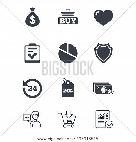 Online shopping, e-commerce and business icons. Checklist, like and pie chart signs. Money bag, discount and protection symbols. Customer service, Shopping cart and Report line signs. Vector