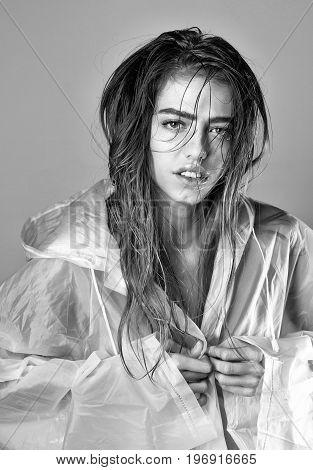 Girl In Sexy Raincoat