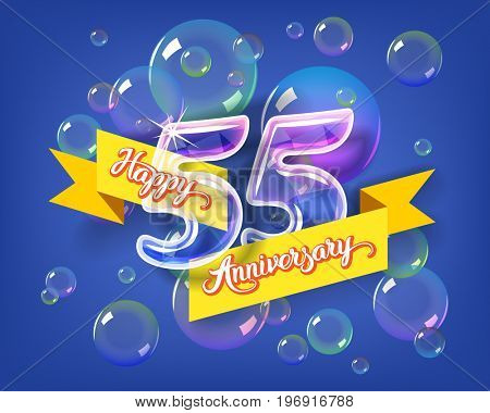 Happy 55th anniversary. Glass bulb number with ribbon and party decoration on the colorful background