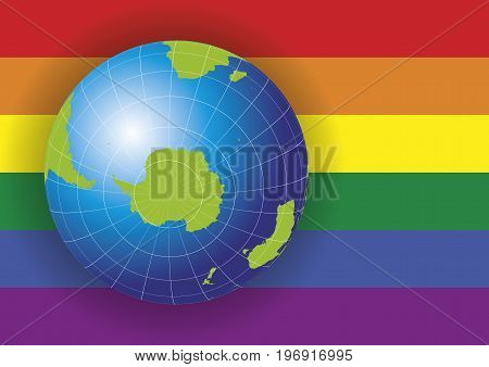 Antarctica Map Over A Gay Flag Background