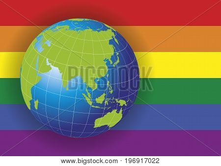 Asia Map Over A Gay Flag Background