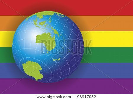 Australia Map Over A Gay Flag Background