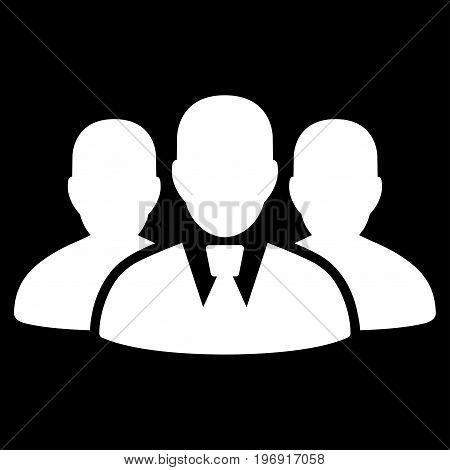 User Group vector pictogram. Style is flat graphic symbol, white color, black background.