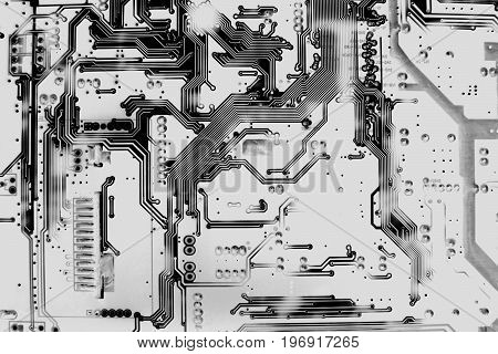 Close up top view of Circuit board pattern back side of electronics motherboard. Abstract background. illustration design. black and white concept.
