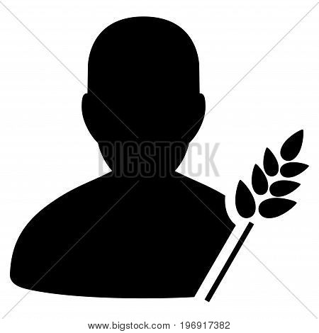 Agriculture Farmer vector pictograph. Style is flat graphic symbol, black color, white background.