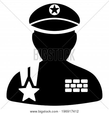 Army General vector pictograph. Style is flat graphic symbol, black color, white background.