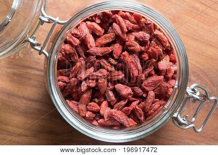 Dried Goji Berries In A Glass Jar