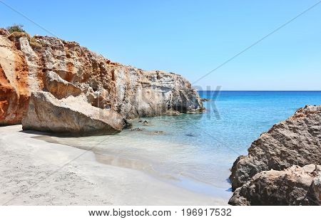 small beach at Petrified Forest Lakonia Peloponnese Greece