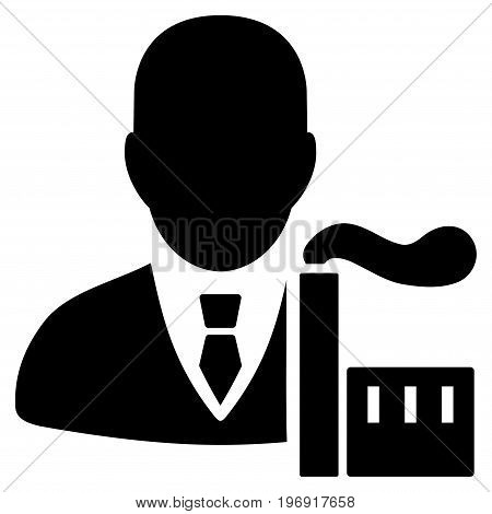 Capitalist Oligarch vector pictogram. Style is flat graphic symbol, black color, white background.