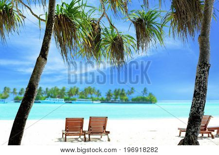 View of tropical beach with sun loungers on summer day