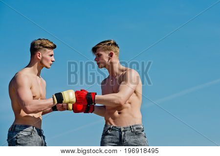 Winner And Loser In Boxing Gloves.
