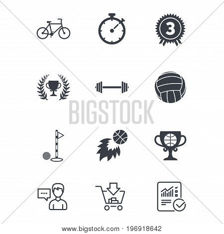 Sport games, fitness icons. Golf, basketball and volleyball signs. Timer, bike and winner cup symbols. Customer service, Shopping cart and Report line signs. Online shopping and Statistics. Vector