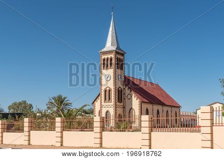 REHOBOTH NAMIBIA - JUNE 14 2017: The Paulus Kirche an Evangelical Lutheran Church in Rehoboth a town in the Hardap Region of Namibia