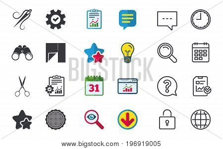Textile cloth piece icon. Scissors hairdresser symbol. Needle with thread. Tailor symbol. Canvas for embroidery. Chat, Report and Calendar signs. Stars, Statistics and Download icons. Vector