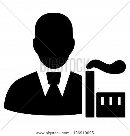 Industry Capitalist vector pictogram. Style is flat graphic symbol, black color, white background.