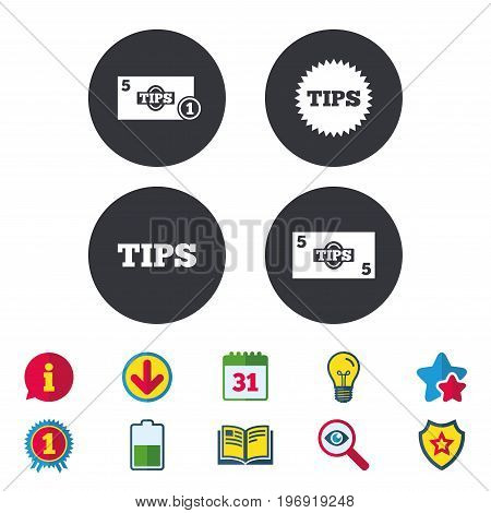 Tips icons. Cash with coin money symbol. Star sign. Calendar, Information and Download signs. Stars, Award and Book icons. Light bulb, Shield and Search. Vector