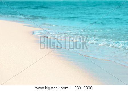 Beautiful view of sea beach at resort