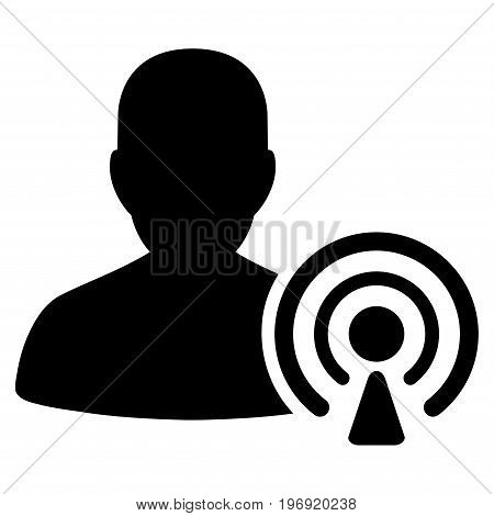 Podcast Creator vector pictograph. Style is flat graphic symbol, black color, white background.