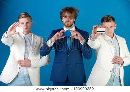 Businessmen Showing Visiting And Bank Cards