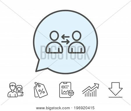 Teamwork line icon. User communication. Profile Avatar sign. Person silhouette symbol. Report, Sale Coupons and Chart line signs. Download, Group icons. Editable stroke. Vector