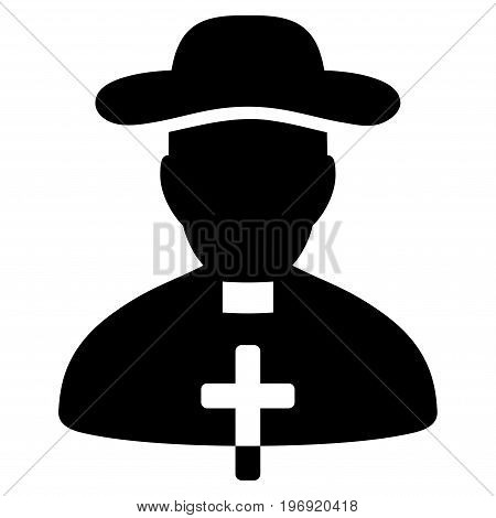 Priest vector pictograph. Style is flat graphic symbol, black color, white background.