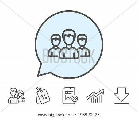 Group line icon. Users or Teamwork sign. Male Person silhouette symbol. Report, Sale Coupons and Chart line signs. Download, Group icons. Editable stroke. Vector