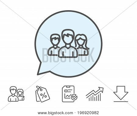 Group line icon. Users or Teamwork sign. Male and Female Person silhouette symbol. Report, Sale Coupons and Chart line signs. Download, Group icons. Editable stroke. Vector