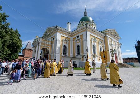 Zaraysk Russian FederationJuly 12 2017. The procession around the Orthodox Church