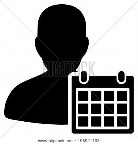 User Schedule vector icon. Style is flat graphic symbol, black color, white background.
