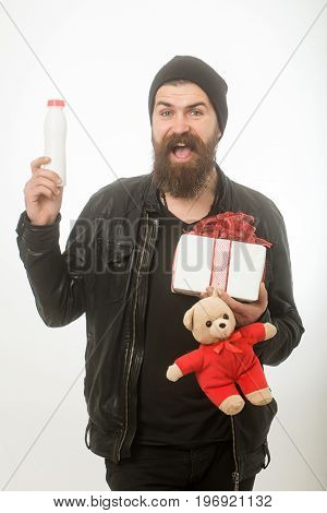 Man With Long Beard Hold Bear And Bottle