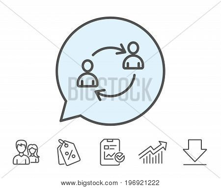 Teamwork line icon. User communication or Human resources. Profile Avatar sign. Person silhouette symbol. Report, Sale Coupons and Chart line signs. Download, Group icons. Editable stroke. Vector