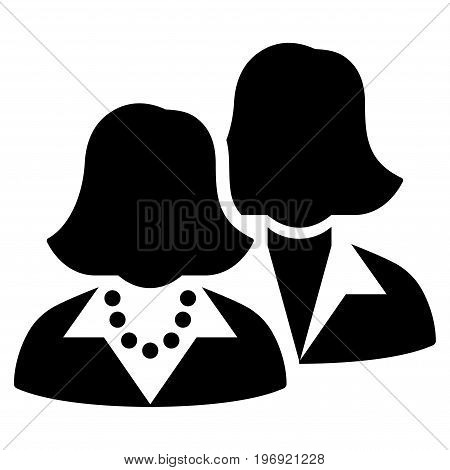 Women vector pictogram. Style is flat graphic symbol, black color, white background.