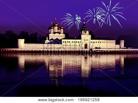 Christianity Ipatievsky monastery in Russia Kostroma city Cradle of the house of Romanov and Godunov night